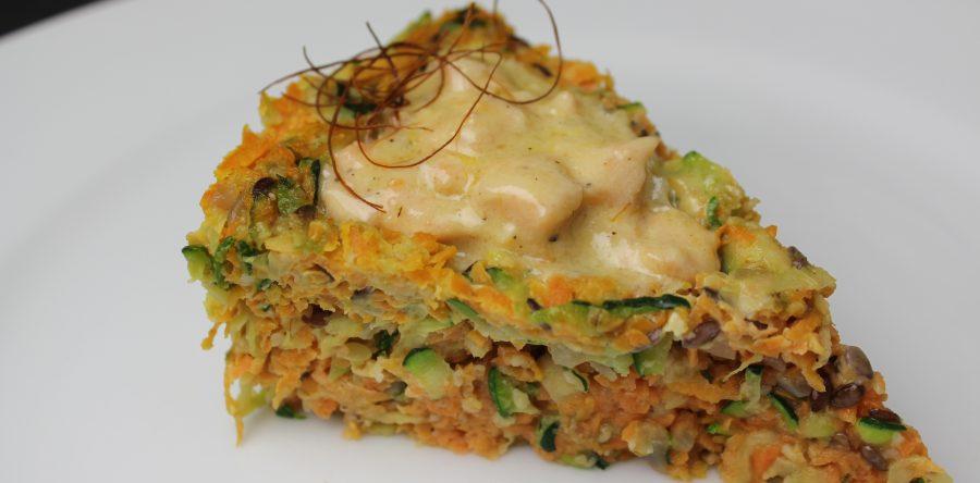 Low Carb Zucchini Karotten Torte Mit Lachs Sahne Fullung